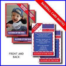 1st Year Baby Birthday Invitation Cards 1st Birthday Invitation Card Lil Rookie Baseball Card
