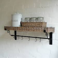 kitchen unique wicker kitchen wall shelf with hook mixed with