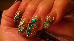 my new set teal and gold stiletto nails youtube
