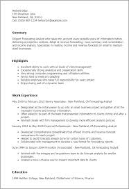 Resume Templates  Forecasting Analyst My Perfect Resume