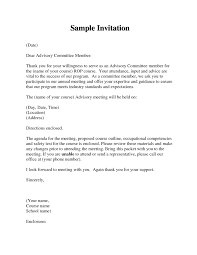 Advisory Board Appointment Letter Template Formal Meeting Invitation Template Invitation Letter Sample For