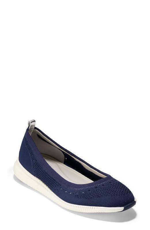 Cole Haan 2 Zerogrand Stitchlite Knit Ballet Flat Marine Blue Ankle-High Fabric 6.5M