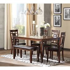 contemporary 6 piece dining room table set with bench by signature