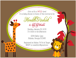 Baby Shower Invitation Cards Templates Jungle Theme Baby Shower Invitation Wording Theruntime Com