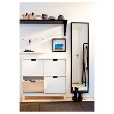 Shoe Storage Furniture by Rectangle Black Stained Wooden Wall Shelf Above White Wooden Shoe