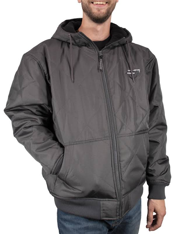 Freeze Defense Big & Tall Fleece Lined Quilted Winter Jacket Coat (5XL, Gray)