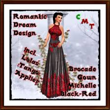Second Life Marketplace - Brocade Gown \u0026#39;Michelle\u0026#39; Black Red - Brocade_Gown_'Michelle'_Black_Red