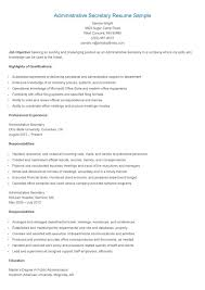 Administrative Secretary Resume Sample by Secretary Resume Template