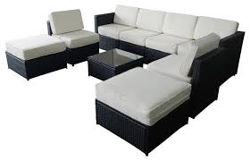 Modern Outdoor Sofa by 9 Piece Wicker Cushion Patio Sectional Set Black And White