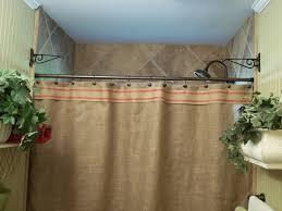 burlap shower curtain red stripe trim rustic country