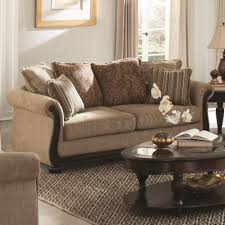 Sofa With Wood Trim by Coaster Beasley Traditional Sofa With Rolled Arms And Wood Trim