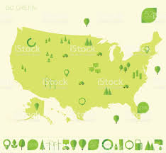 United States Map by High Detailed United States Map Ecology Eco Icons Stock Vector Art