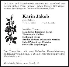 Karin Jakob : Traueranzeige - SZ Trauer - 8951532_large