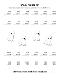 printable halloween worksheets scary addition and subtraction with triple digit numbers a