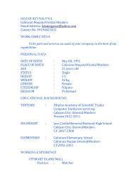 Resume SlideShare Resume  GOZAR REYNALYN S Calinisan Naujan Oriental MindoroEmail Address  lalainegozar yahoo