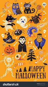halloween vector art happy halloween vector set characters icons stock vector 485473462