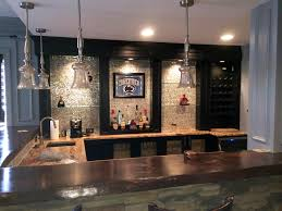 wet bar with tile and stone