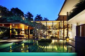 eye catching cool modern house with swimming pool closed tree plus
