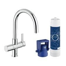 grohe blue pure 2 handle standard kitchen faucet in starlight