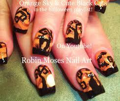 Robin Moses Nail Art by Nail Art Tutorial Diy Easy Halloween Nails Cute Black Cats