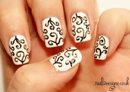 black and white swirl nail design nail art design swirls black