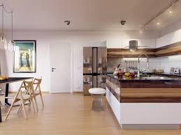 apartment glossy kitchen design with dining table set on wooden