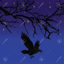 spooky halloween background free dark crow bird flying over scary halloween night tree illustration