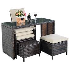 Patio Furniture Set 5 Pcs Brown Patio Cushioned Rattan Dining Table Chair Set