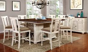 Counter Height Dining Room Tables by Sabrina Country Style 9 Pcs Cherry U0026 White Finish Counter Height