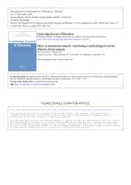 ethics in educational research introducing a methodological tool