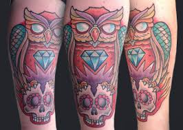 owl and skull by matt stebly tattoos