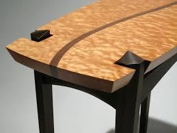 handmade quilted maple and walnut entry table by dogwood design