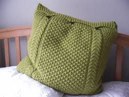 Knitted Cushions With Buttons Large Lime Green Pillow Cushion Cover Hand Knitted Cable Bobbles