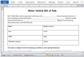 10 sample of vehicle bill of sale template manager u0027s club