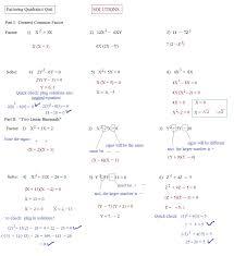 solving quadratic equations by factoring worksheet answers algebra