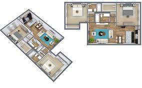 3d Floor Plans by 3d Floor Plan Blue Sketch