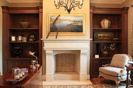fake fireplace mantel home office traditional with bookcases