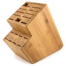 megalowmart 18 slot bamboo wood kitchen knife block stand https