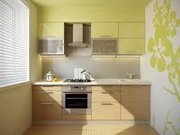 lovely kitchen wall decor ideas with green floral wallpaper as