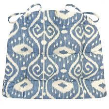 bali ikat blue dining chair pad latex foam fill ikat scroll