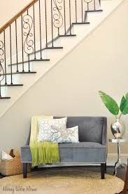 honey we u0027re home decorating under the staircase target settee