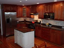 Flooring For Kitchen by Decorating White Kraftmaid Cabinets With Stove And Fridge Plus