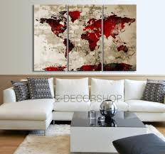 World Map Canvas by Red Black World Map Canvas Print On Old Wall Vintage Large Size