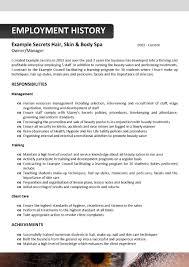 Auto Body Job Description Cosmetologist Resume Examples Resume Format Download Pdf Cv For