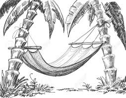 arbres et de palmiers hamac dessin clip art libres de droits