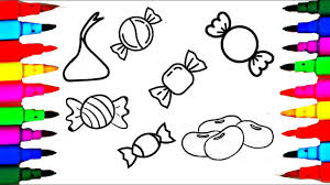 how to draw candies set of sweets for kids coloring pages l