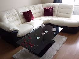 Leather Sofas At Dfs by Dfs Leather Sofa Cream Black Two Tone Quick Sale Almost New