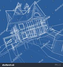 house blueprint 3d technical draw stock illustration 11401504