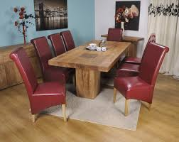 red leather dining chairs and table