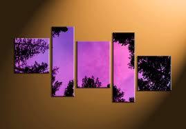 5 piece scenery tree purple canvas photography